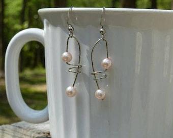Lavendar, Purple and Baby Pink Pearl Bead Earrings