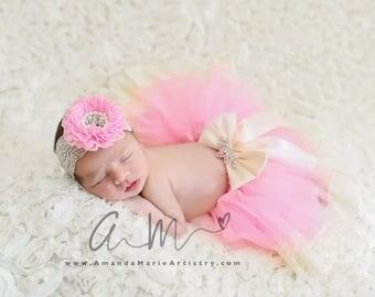 Vintage Baby tutu, newborn tutu and Flower headband, newborn photogpraphy prop, PINK TUTU, ,  Photo Prop Tutu , Spring Tutu, Tulle Tutu