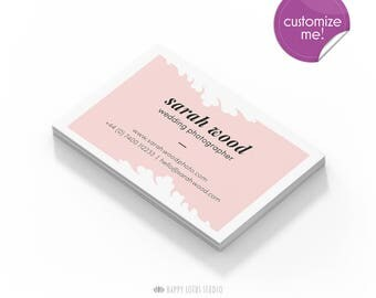 Business Card Design, Modern Minimalist Chic Elegant Branding, Floral Pink Peach Simple Calling Card, Customise Personalize Photographer