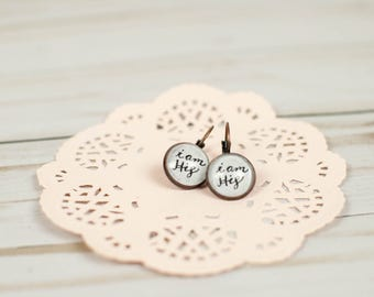 Daughter of the King Earrings, I Am His Earrings, Christian Gift from Mom to Daughter, Hand Lettered Gifts for Her, 402021
