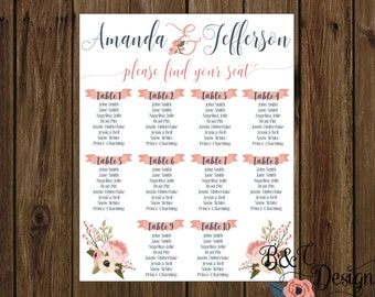 Wedding Seating Chart, Personalized seating charts for wedding, custom seating chart