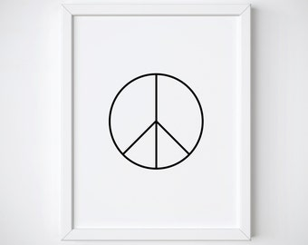 Peace sign print - peace poster - motivational print - scandinavian print - black and white print - nordic print - minimalist print