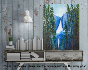 Yosemite Oil painting, Palette knife art, California Landscape, Impasto  Forest painting, Texture art, Mountain, Waterfall, Contemporary art