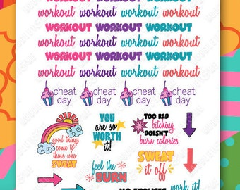 Workout, Fitness, Exercise Planner Stickers for your Horizontal or Vertical Erin Condren Life Planner, Happy Planner, or any daily planner!