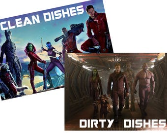 "Guardians of the Galaxy Reversible Magnetic Dishwasher Sign | Geek Kitchen | Clean Dirty Dishwasher Magnet | ""Clean"" ""Dirty"" Marvel Comics"