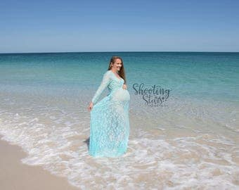 Maternity Dress - Victoria - Ice Blue - XS to XXL (Petite to Plus) - Lace - Full Sleeve - Full Length