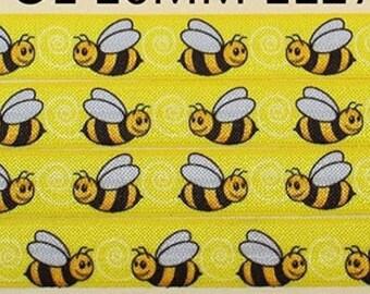 "5/8"" elastic FOE Honey Bee Bumble Bee elastic ribbon fold over elastic DIY hair tie headband gift wrap party supplies by the yard"