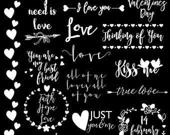 Valentine Clipart, Love Clipart, Wedding Clipart, Digital Scrapbooking, Scrapbooking Supply, Photography Words Overlays, Photoshop Overlays
