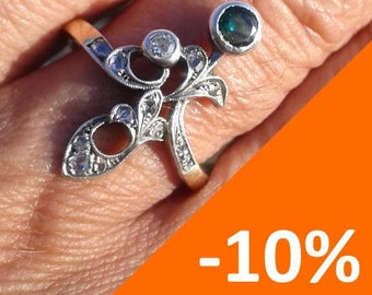 Hand made Art Nouveau style emerald/diamond ring - 10% SPRING DISCOUNT!