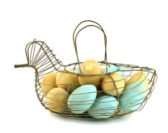 Wire Chicken Basket with Wooden Eggs Natural Blue Wood Eggs in Basket Vintage New England Farmhouse