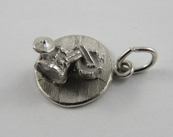 Drum Set or Kit Sterling Silver Charm of Pendant.