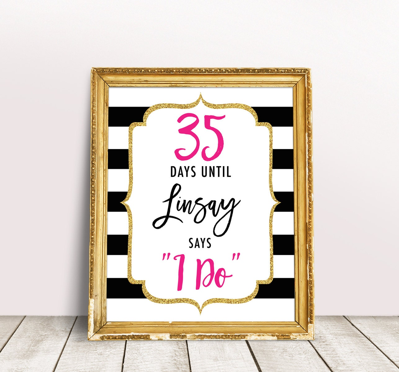 days until i do sign countdown to wedding sign kate inspired bridal shower decoration days until wedding printable stripes bridal shower