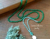 Jade and Green Aventurine Mala, tassel necklace, healing stones, chakra stones, crystals, intentional jewelry, Handcrafted jewelry, boho