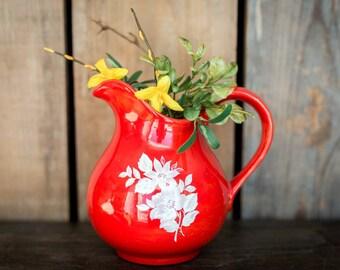 Vintage Flower Vase Picture Jug - Orange with White Flowers Retro 80's Home Decor - Ceramic Flower Picture Vase