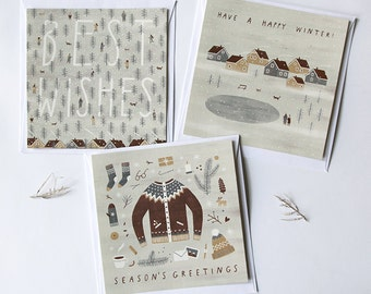 SALE (%) set of 3 winter square postcards // christmas postcards. new year postcards.