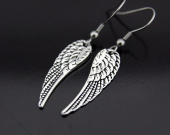 Angel Wing Earrings, Angel Wing Charm Dangle Earrings, Silver Wing Earrings, Wing Charm, Wing Pendant, Angel Wing Jewelry, Silver Earrings