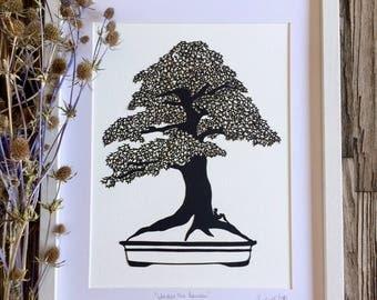 Framed papercut art Bonsai tree and miniature person, Unusual original wall art, Black and white papercutting, Tree artwork, Garden art gift