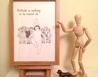 Ridicule is Nothing to be Scared Of. Art Print of Vintage Book Illustration with Adam and the Ants Lyrics. Perfect Gift for 80s Music Fan.