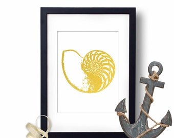Shell Print, Nautilus Shell, Shell Art, Nautical Deco, Gold Foil Print, Nautical  wall decor, nautical prints