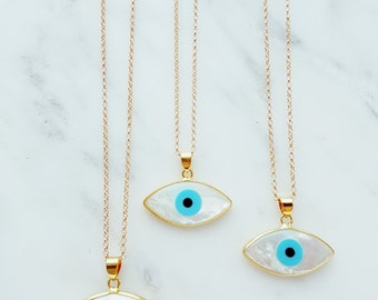 Mother of Pearl Evil Eye gold Necklace ; Birthday gift; Talisman and Charm; Protection; Something Blue; Summer Jewellery