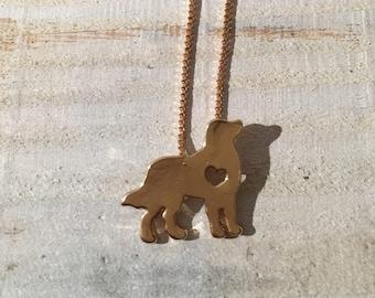 Border Collie / Sheep Dog Gold Cutout Necklace, Jewlery
