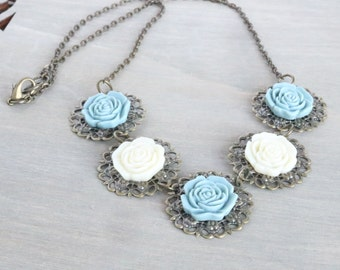 Blue and Cream Rose Necklace, Statement Necklace, Bib Necklace, Flower Necklace, Resin Rose Necklace, Bronze Necklace, Vintage Inspired