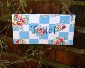 Toilet Door Sign, Toilet Door Plaque, Vintage Style, Floral, Shabby Chic, Toilet Plaque/Sign
