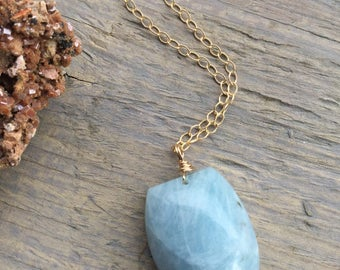 Aquamarine necklace, 14k gold filled necklace