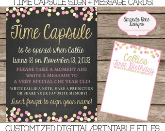 First Birthday Chalkboard Confetti Pink and Gold Time Capsule Sign Digital/Printable File (Any Age or Shop Design!)