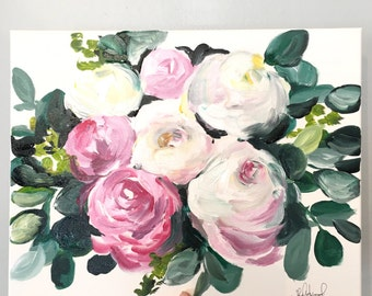 Custom bridal Bouquet painting 16x20 canvas!