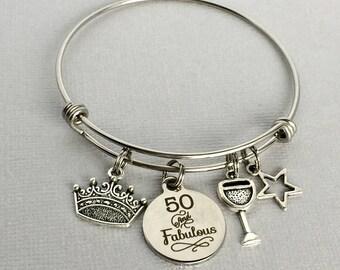 50th Birthday Charm Bangle, 50 and Fabulous Bracelet, 50th Birthday Gift, Friend Birthday Gift, 50th Birthday Jewelry