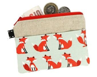 Fox zipper pouch, Coin purse, Card holder, Card wallet, Gift for Her, Coin pouch, Fabric purse, Zipper purse, Pocket purse, Fox, Foxes