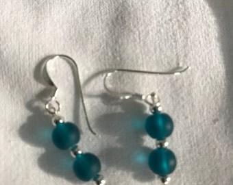 Beach Glass Sterling Silver Earrings
