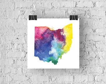Ohio Watercolor Map - Giclée Print of Hand Painted Original Art - 5 Colors to Choose From