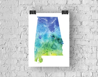 Alabama Watercolor Map - Giclée Print of Hand Painted Original Art - 5 Colors to Choose From