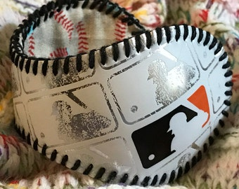 MLB White and Silver baseball cuff bracelet