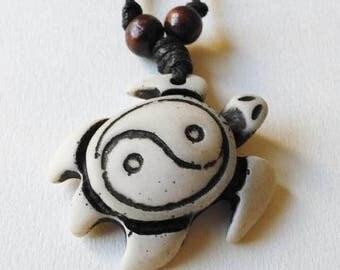 Yin Yang Turtle Necklace - turtle pendant, turtle jewelry, yin yang jewelry, yin yang pendant, yin yang necklace, tortoise necklace