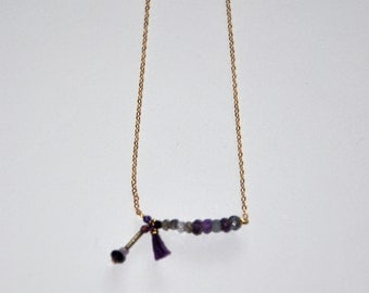 Fine gold-plated necklace, Amethysts and purple silk tassel