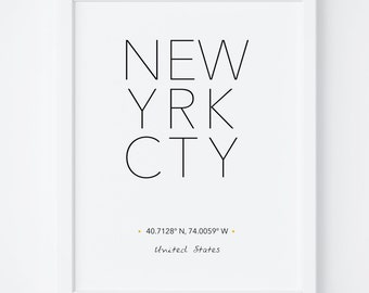 New York Print, New York Poster, Wall Art, NYC City Poster, NYC Print, New York City Print, New York Printable, Scandinavian, Typography art