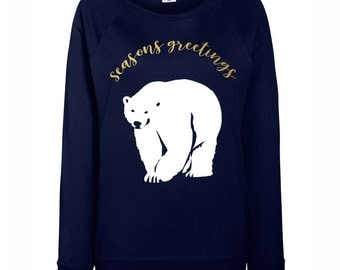 Womens Seasons Greetings Polar Bear Christmas Jumper / Sweatshirt