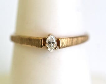 Marquise Diamond Solitaire Ring in 10k Yellow Gold