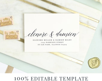 Wedding invitations etsy rsvp envelope template printable wedding envelope calligraphy word or pages mac or pc stopboris Choice Image