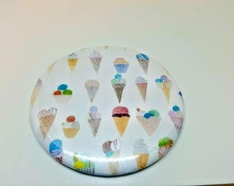 """Magnet or Pinback 2.25"""" Summer Ice Cream Cone Magnet or Button Pastels  Summer Vibes"""