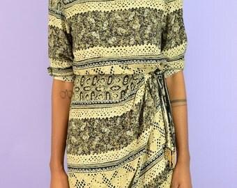 Vintage Bohemian Faux Wrap Dress