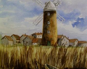 Dutch Windmill,16x20 Original Watercolor,ONE OF A KIND, Not a Print,