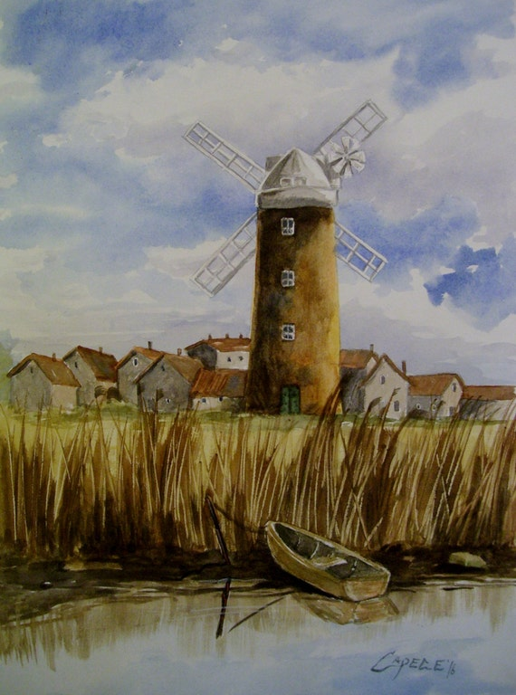 Dutch Windmill,16x20 Original Watercolor,ONE OF A KIND, Not a Print,Free Shipping Code SKYE2