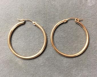 2x34mm 14K Gold Filled Hoop Earrings, Pair, Two pieces