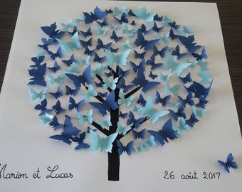 "Guestbook - tree signature 3d-tree prints on canvas cotton 50 x 50 cm. ""Butterfly tree"""