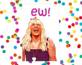 Valentine's Day Card, Jimmy Fallon 'EW' Sara Character (blank card, snl, any occasion, 21st birthday card, 30th birthday card)