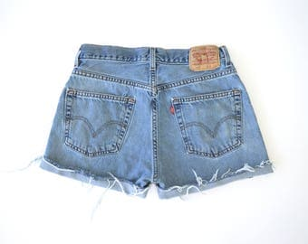 Custom Distressed Vintage Levi's High Waisted Shorts SIZE 9/10
